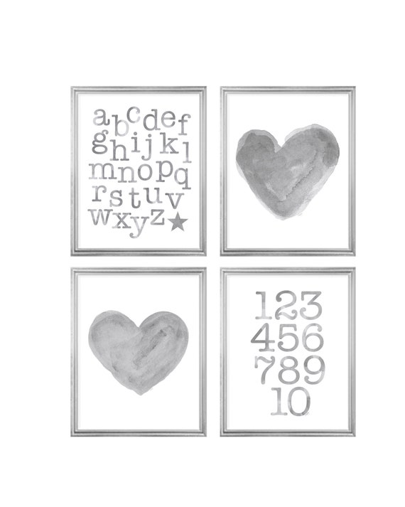 Unisex Nursery Art, Set of 4 Watercolor Prints with Hearts and ABC 123