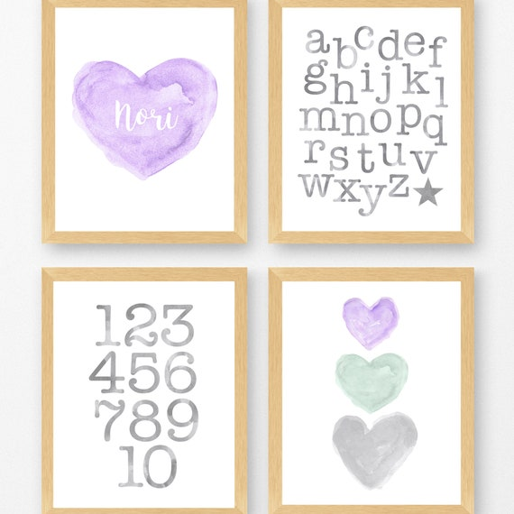 Lavender and Gray Gallery Wall, Set of 4-8x10 Prints for Young Girls Room