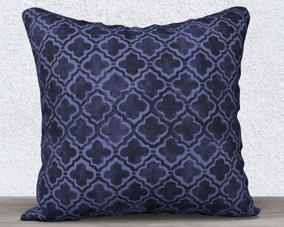 "Navy Blue Velvet Pillow Cover with Moroccan Motif, 14""x20"", 18""x18"""
