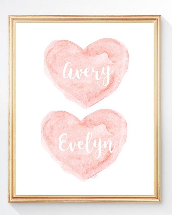 Twin Sisters Gift in Blush, Personalized Hearts Print