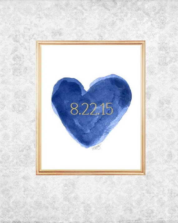 Navy Wedding Gift, 11x14 Print with Wedding Date