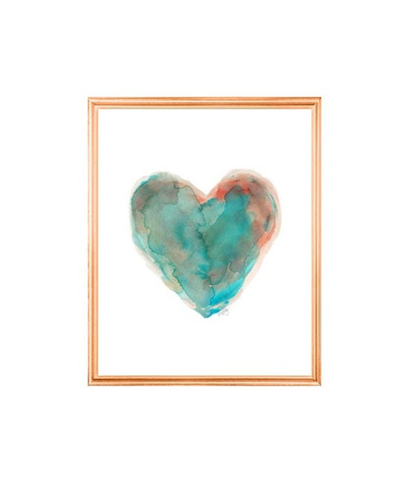 Southwestern Turquoise Heart Print, 5x7, 8x10 Watercolor