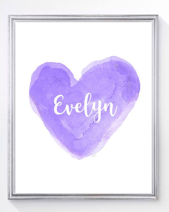 Purple Name Print for Girl, 8x10 Heart in 13 Colors