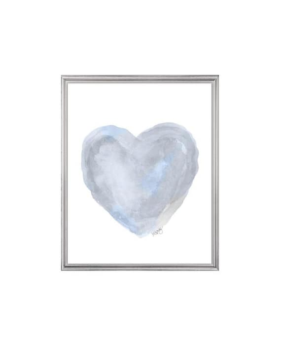 Dreamy Blue Gray Watercolor Heart Art Print, 8x10