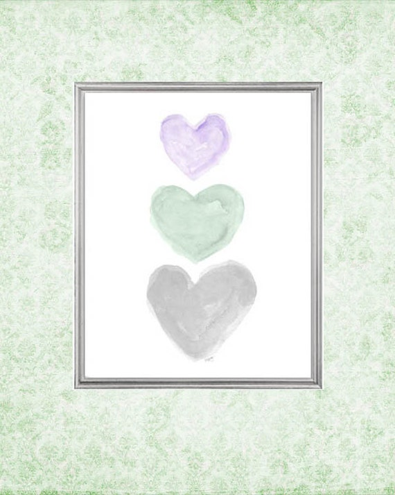 Purple, Mint and Gray Hearts Nursery Print, 8x10