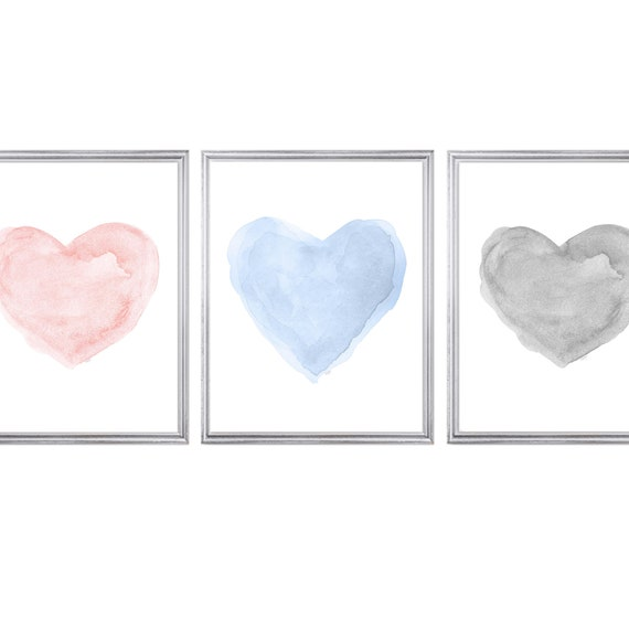 Blush, Blue and Gray Hearts, Set of 3 Watercolor Prints