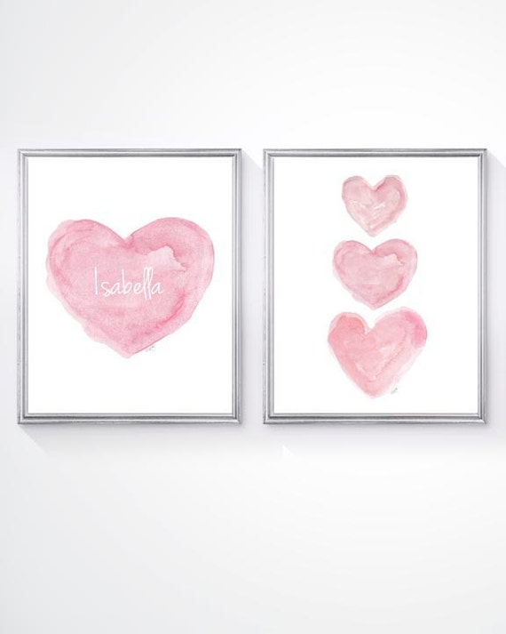 Newborn Girl Gift, 11x14 Set of 2 Pink Personalized Heart Prints