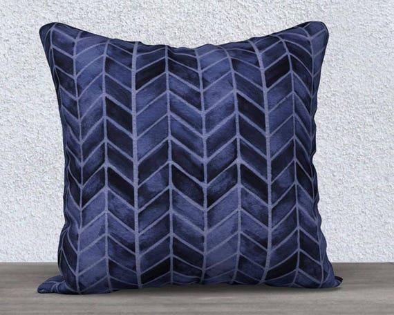 """Navy Velvet Arrow Print Pillow Cover, 14""""x20"""", 18""""18"""""""