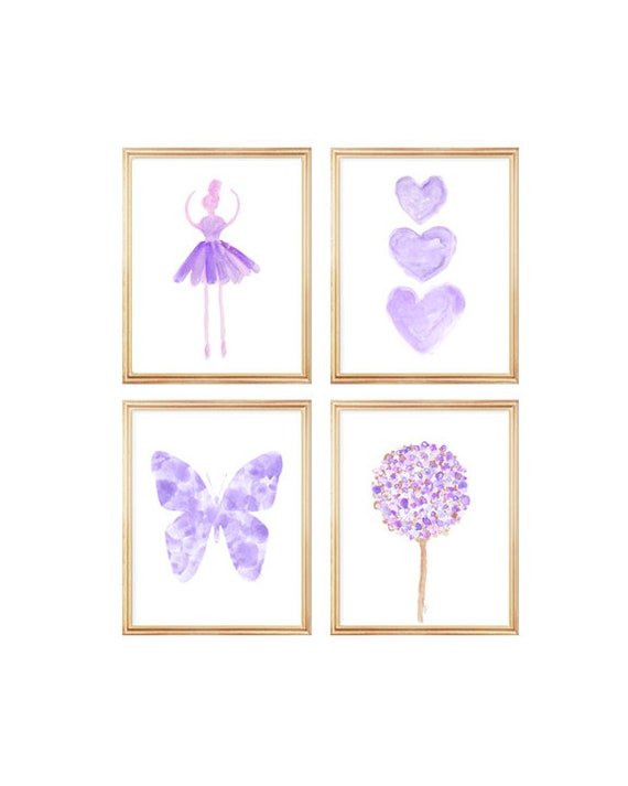 Lavender Gallery Wall for Girls, Set of 4-8x10 Ballerina, Flowers, Butterfly and Heart Prints