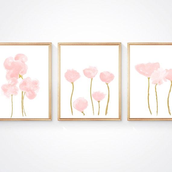Blush Wall Decor, Set of 3- 11x14 Flower Prints