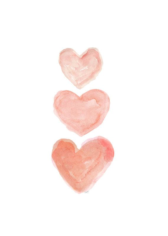 Peach Nursery Decor, 5x7, 8x10 Watercolor Heart Artwork