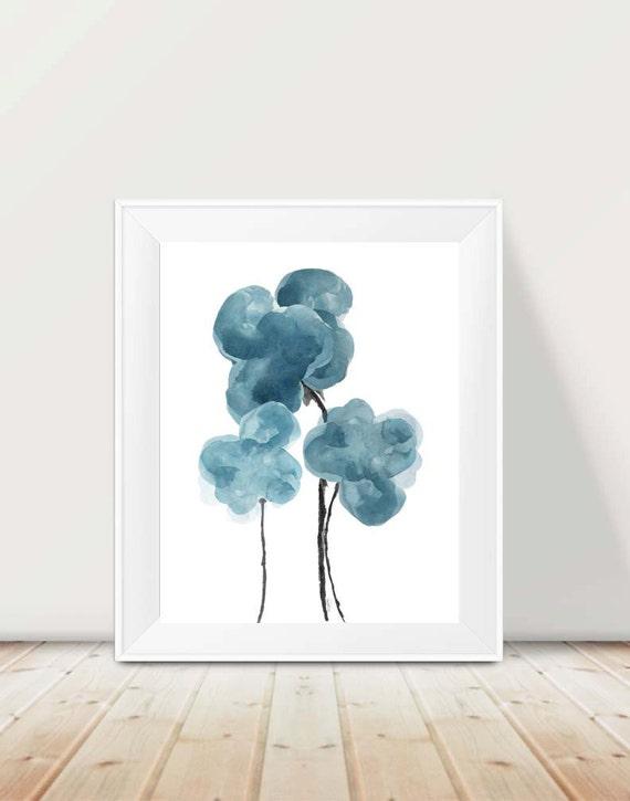 Blue Gray Floral Print, 11x14 Watercolor