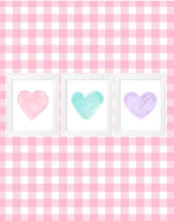 Pastel Nursery Decor, 11x14 Set of 3 Watercolor Heart Prints