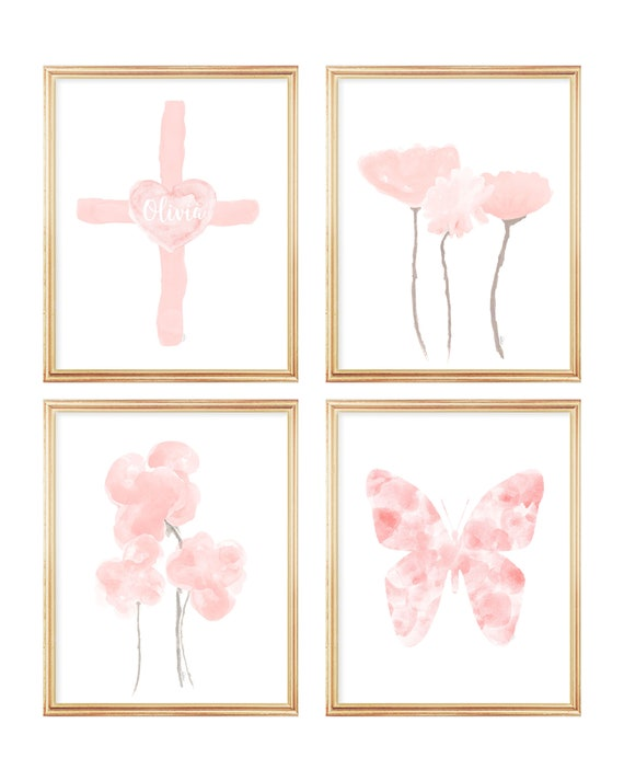 Christian Nursery Prints, Set of 4-8x10 Blush Gallery Wall for Baby