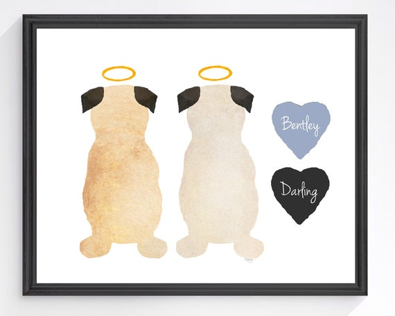 Two Pug Memorial; Personalized Artwork for Family Gift