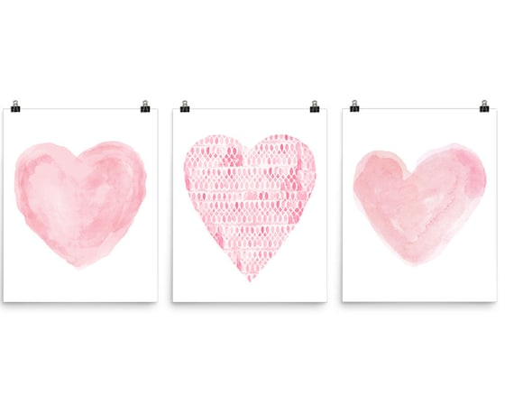 Pink Hearts Posters, 16x20 Set of 3
