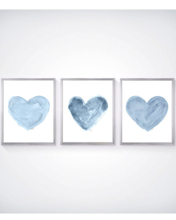 Blue Nursery Decor, Set of 3 - 8x10 Blue Heart Watercolor Prints