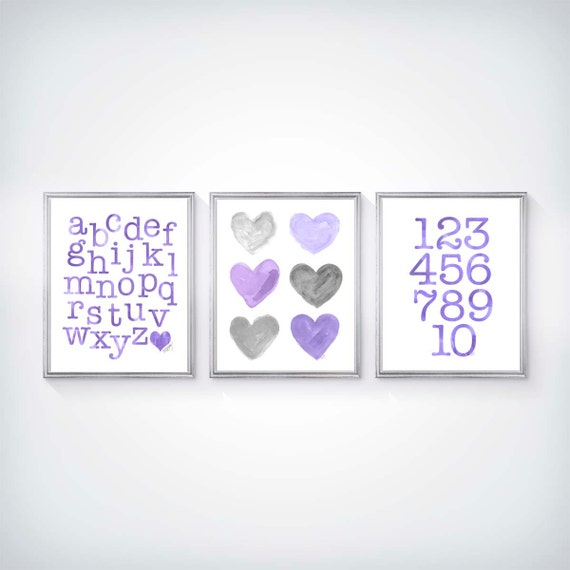 Purple and Gray ABC 123 Prints for Playroom, 8x10 Set of 3 Personalized