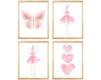 Pink Butterfly and Ballerina Gallery Wall for Girl, Print Set of 4, Young Dancer Wall Decor, Pastel Nursery Print, Ballerina Bedroom Art