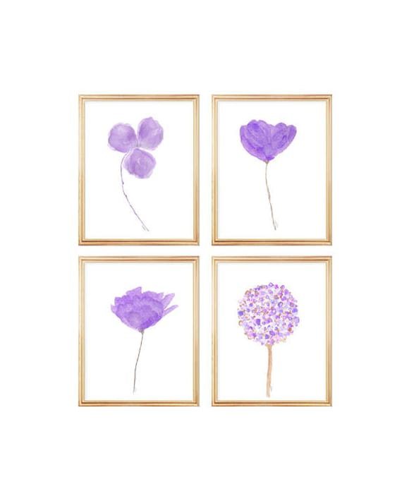 Purple Flowers Gallery Wall, Set of 4- 8x10 Watercolor Flower Prints