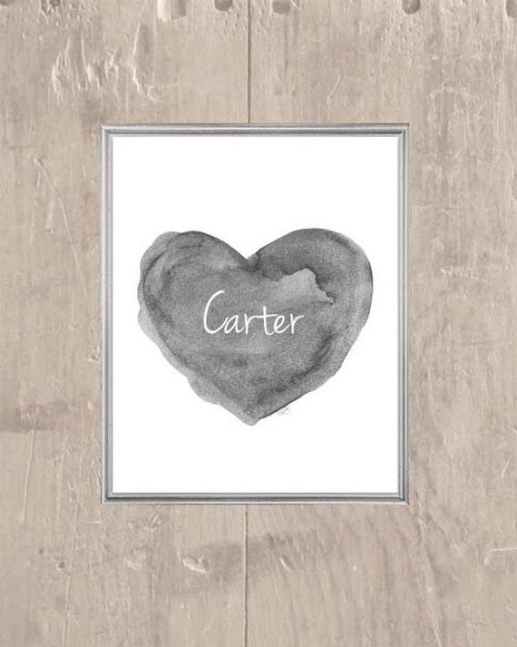 Gender Neutral Print, 8x10 Personalized Gray Heart