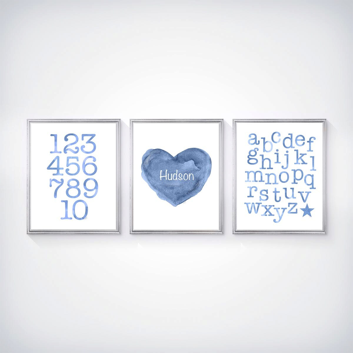 Baby Boy Nursery Prints Abc 123 And Personalized Heart With Name