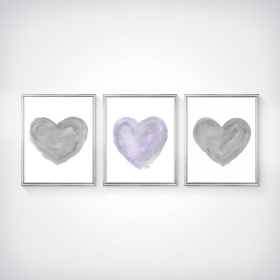 Lavender and Gray Art Print Set, Set of 3 - 8x10 Watercolor Prints