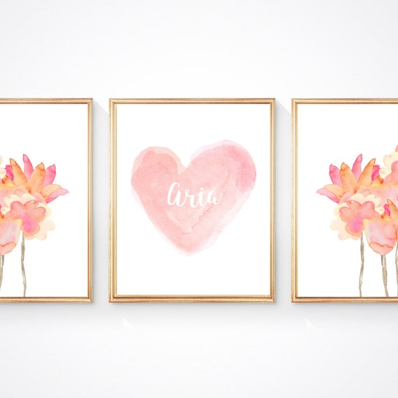 Blush and Coral Flower Print Set, Set of 3- 8x10, Personalized Prints