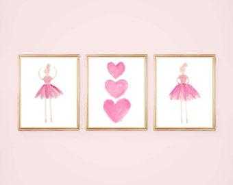 Hot Pink Ballerina, Ballerina Wall Art, Girls Ballet Prints, Ballet Nursery Art, Ballerina Decor, Pink Ballet Prints, Set of 3