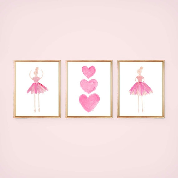 Ballerina Wall Art for Girls Room, 8x10 set of 3 Prints in 5 colors