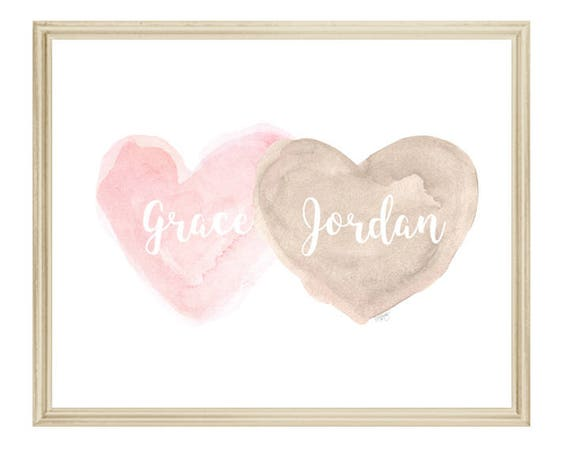 Petal Pink and Natural Nursery, Personalized Hearts Print in 8x10
