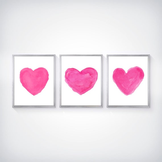 Hot Pink Girls Room, Set of 3 Heart Prints