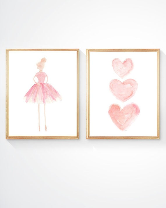 Girls Ballet Prints in Blush, Set of 2 - 8x10 with Ballerina and Hearts