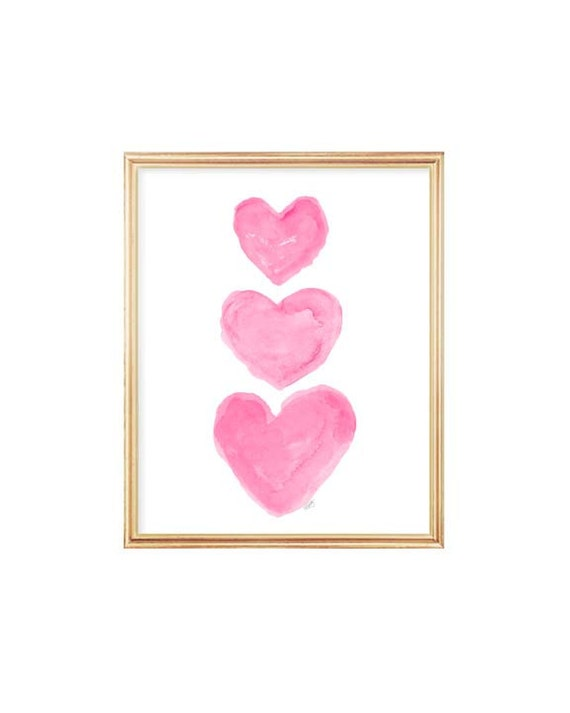 Hot Pink Hearts Nursery Print, 5x7, 8x10