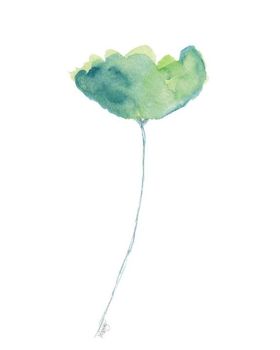 Blue and Green Watercolor Tulip Print 8x10
