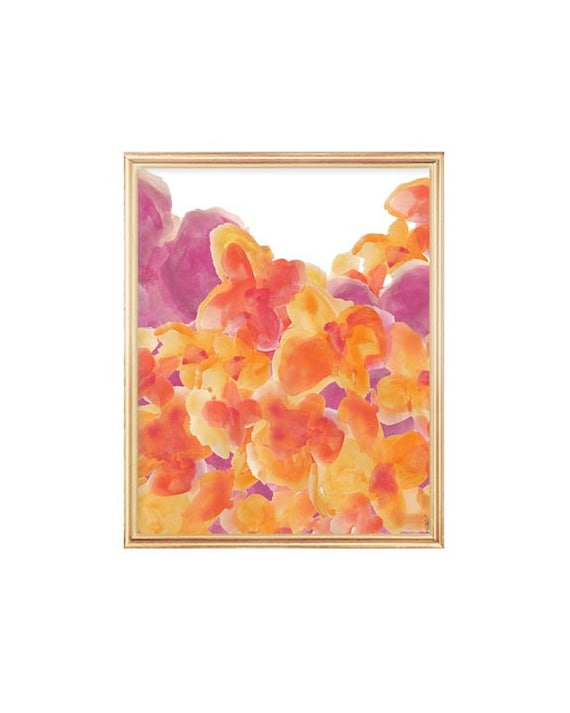 Contemporary Floral Print in Hot Pink and Orange, 8x10