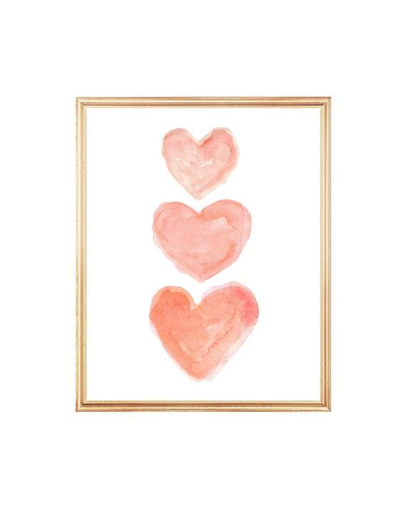 Coral Bedroom Wall  Decor; Romantic Watercolor Hearts Print