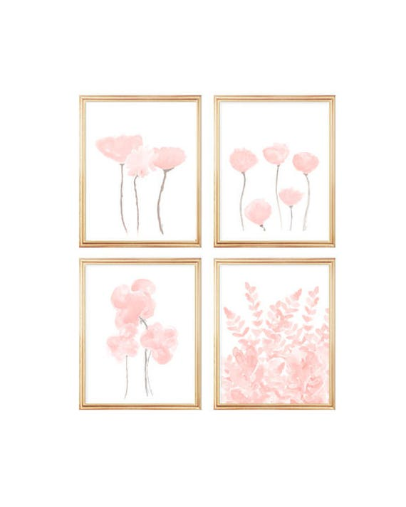 Blush Flowers Gallery Wall, Set of 4 Watercolor Prints