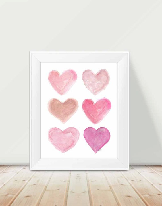 Pink Watercolor Hearts Collage Print, 11x14