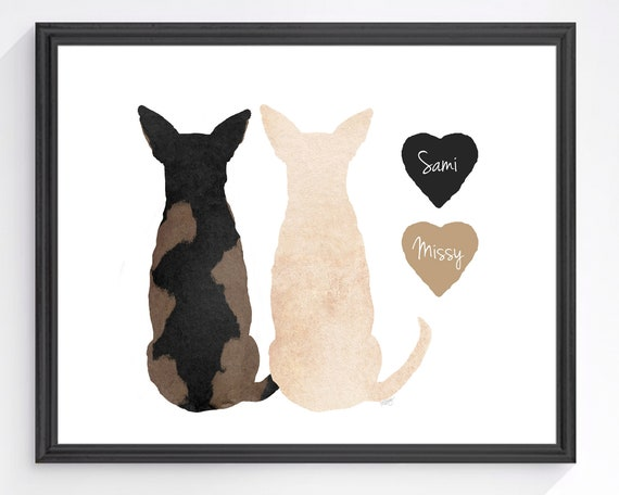 Two Chihuahua Dogs Personalized Print in 12 Colors