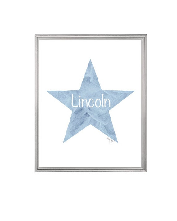 Blue Star Nursery Print for Boys Personalized with Name, 8x10