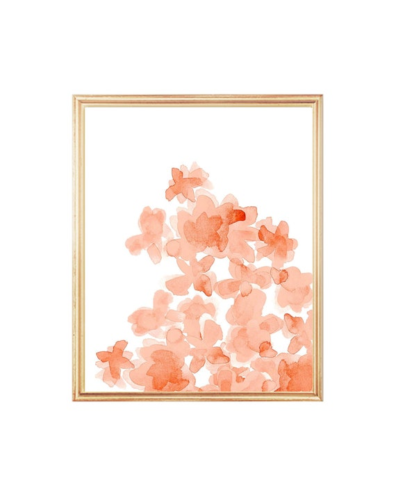 Coral Flowers Nursery Print in 24 Color Combinations