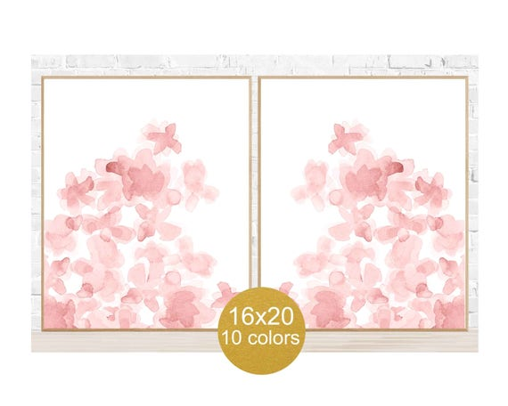 Blush Flowers Nursery Posters, 16x20 Set of 2, 10 Colors Available