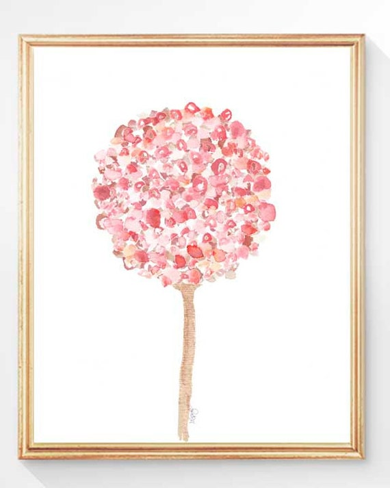 Pink Flower Print for Girls Room, 8x10