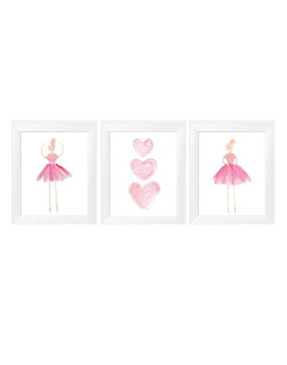Ballerina and Hearts Prints, 11x14 Set of 3