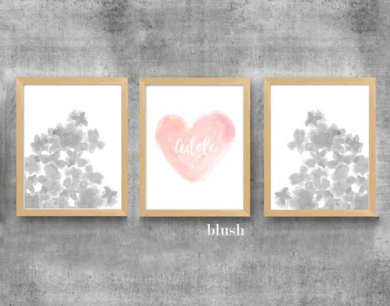 Blush and Gray Girls Prints, Set of 3-11x14 Personalized Watercolor Prints