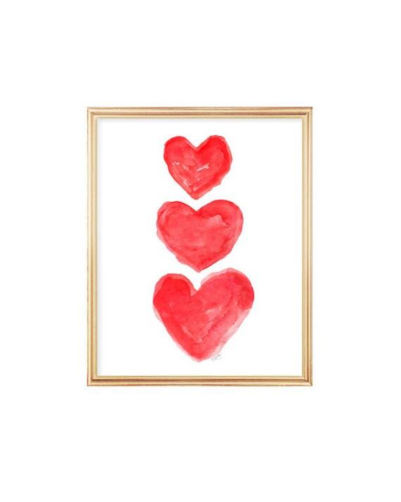 Red Hearts Children's Print, 8x10
