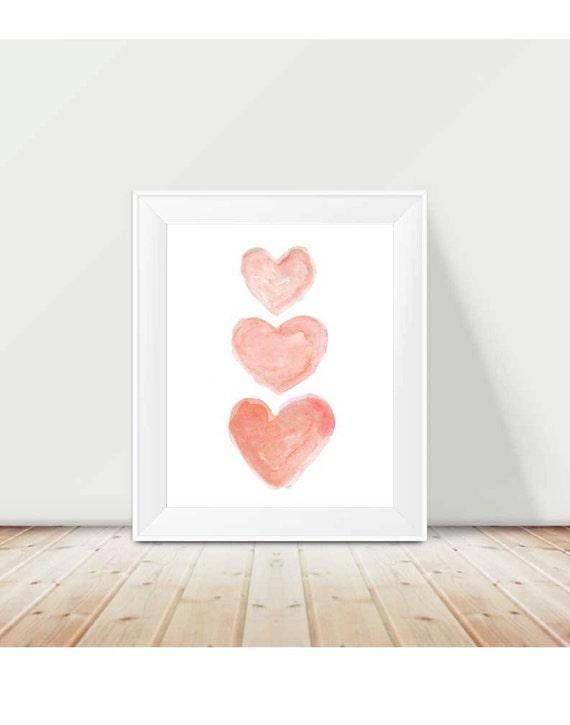 Coral Nursery Decor, 11x14 Watercolor Hearts Print
