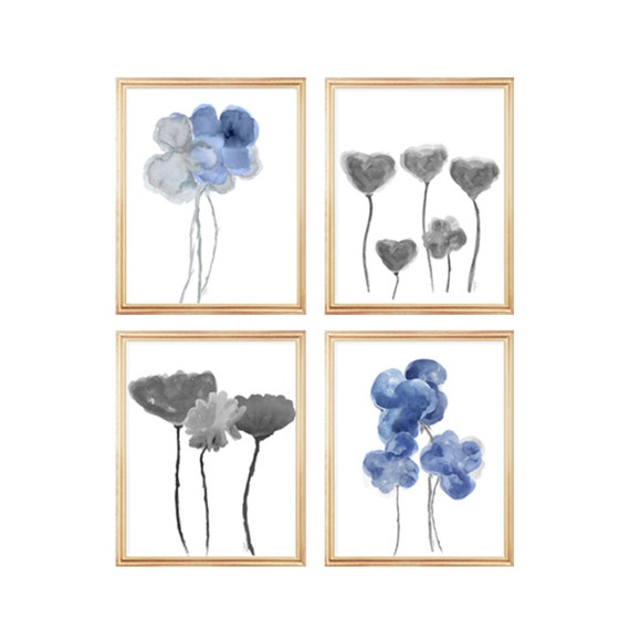 Blue Floral Gallery Wall, 8x10 Set of 4 Blue and Gray Flower Prints