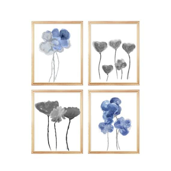 Blue Botanical Gallery Wall, 8x10 Set of 4 Flower Prints